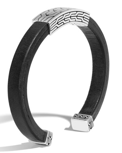 Men's Classic Chain Sterling Silver & Leather Cuff