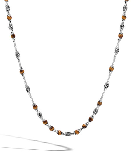Classic Chain Men's Tiger Eye Bead Necklace, Light Brown