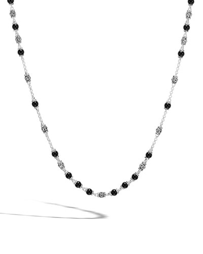 Men's Modern Chain Silver & Onyx Bead Necklace