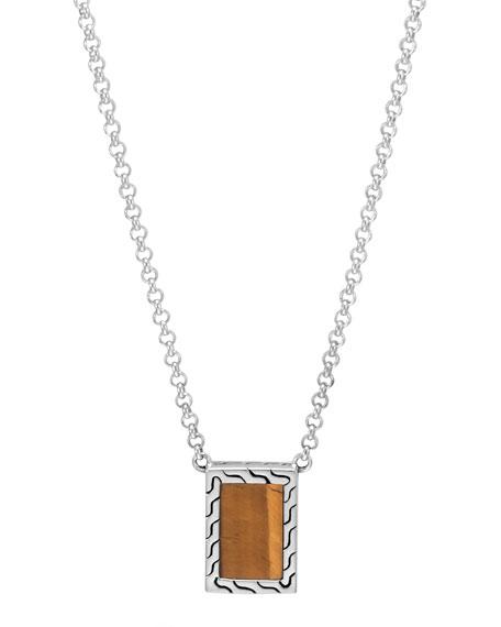 Men's Modern Chain Sterling Silver & Tiger's Eye Necklace
