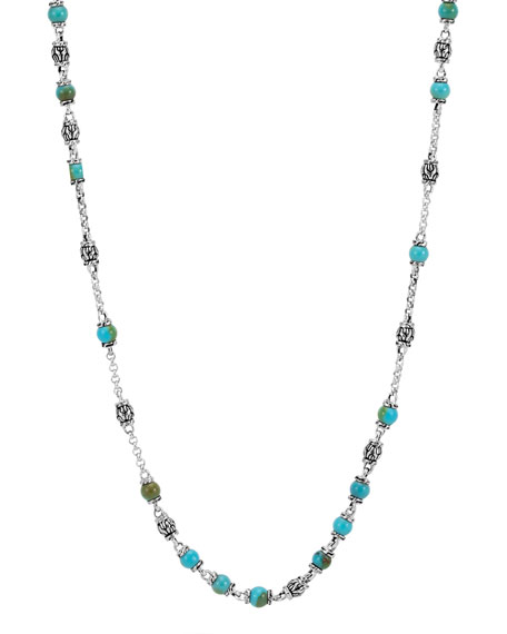 Men's Classic Chain Silver & Turquoise Bead Necklace, Blue/Black