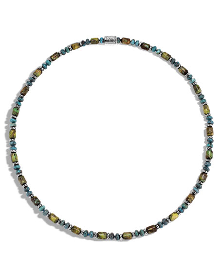 Men's Classic Chain Sterling Silver & Turquoise Bead Necklace