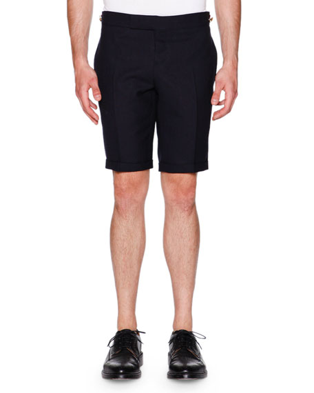 Thom Browne Side-Tab Shorts, Navy