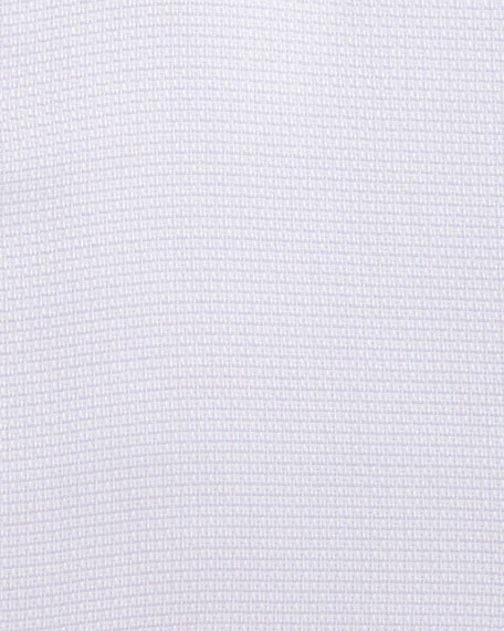 Solid Textured French-Cuff Dress Shirt, Lavender