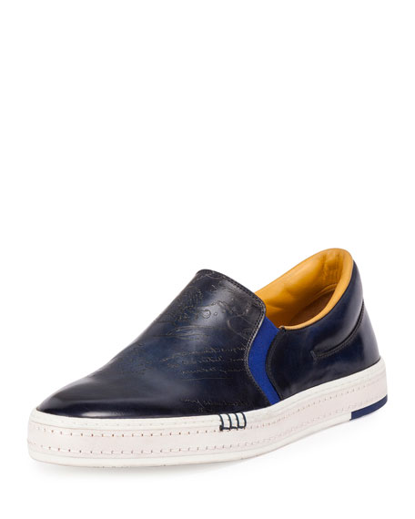 Scritto Calf Leather Slip-On Sneaker, Navy