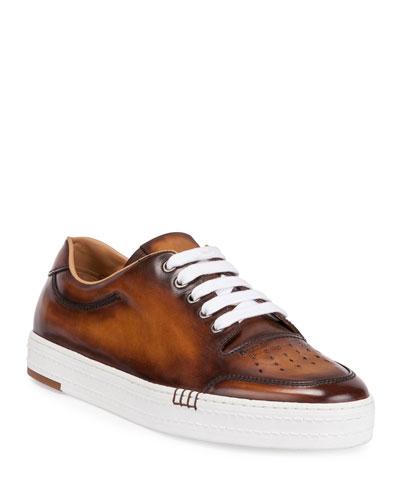 Calf Leather Tennis Shoe, Brown