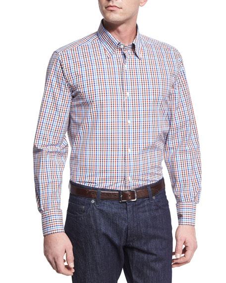 Neiman Marcus Check Sport Shirt, Brown/Blue