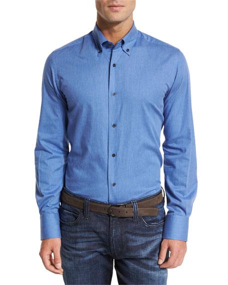 Neiman Marcus Solid Flannel Sport Shirt, Blue