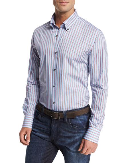 Neiman Marcus Striped Sport Shirt, Blue/Multicolor