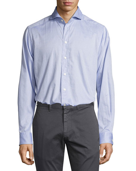 Eton Dotted Sport Shirt, Light Blue