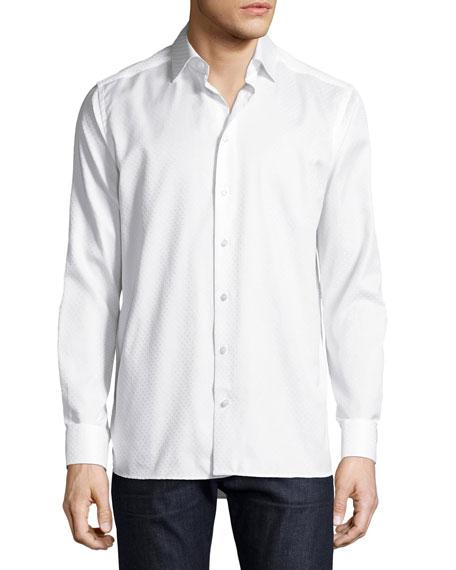 Eton Tonal Dot Jacquard Sport Shirt, White