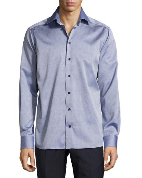Eton Parquet-Weave Sport Shirt, Dark Blue