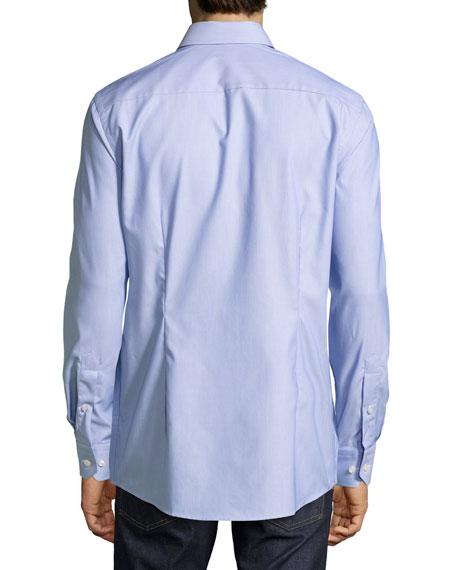 Zigzag Waves Jacquard Sport Shirt, Blue