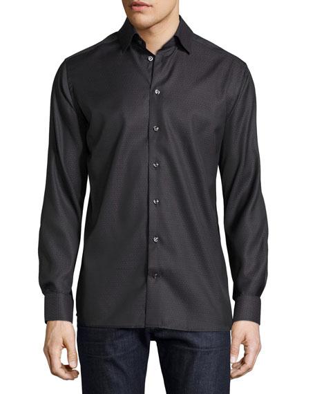 Eton Tonal Geometric-Print Sport Shirt, Black
