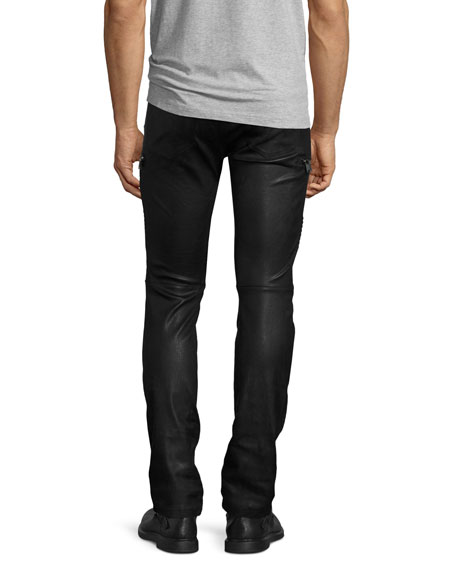 Acrux Leather Moto Skinny Pants, Black