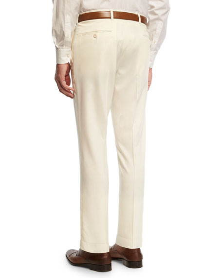 Gabardine Straight-Leg Pants, White