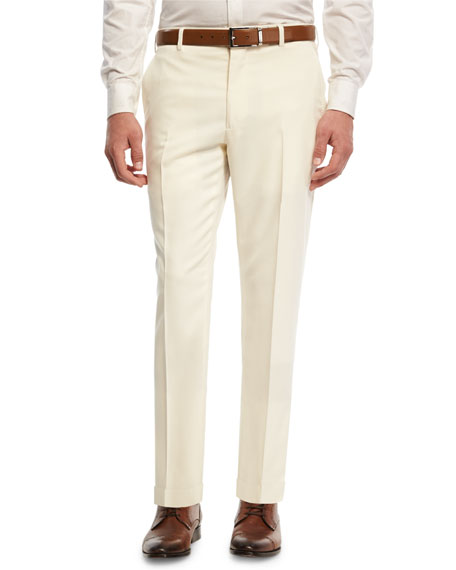 Ralph Lauren Gabardine Straight-Leg Pants, White