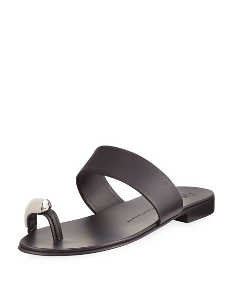 Giuseppe Zanotti Men's Metal Toe-Guard Sandal, Black