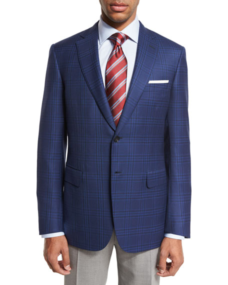 Brioni Plaid Two-Button Sport Coat, Navy