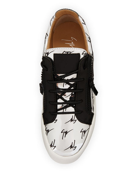 Men's Logo Patent Leather Low-Top Sneakers, Silver/Black