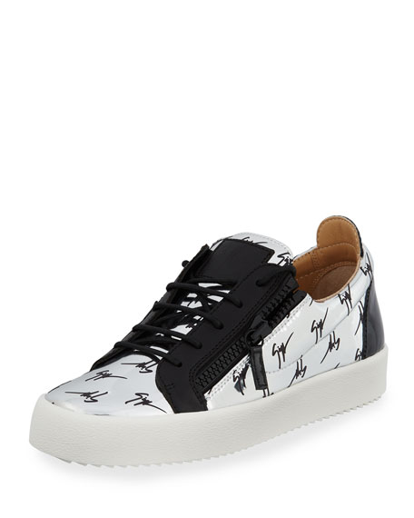 Giuseppe Zanotti Men's Logo Patent Leather Low-Top Sneaker,