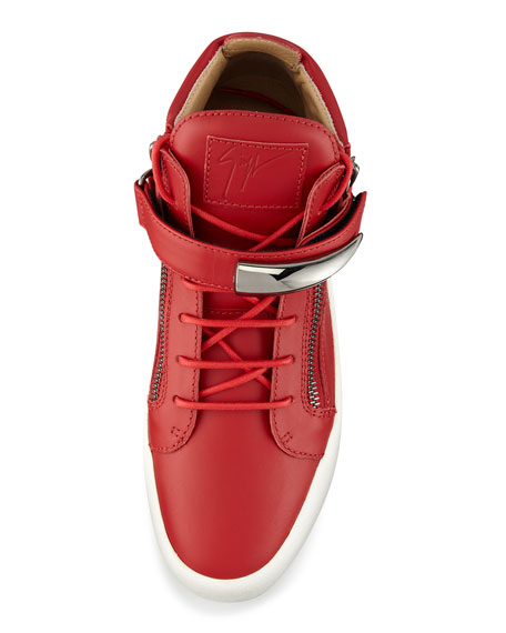 Men's Horn Leather Mid-Top Sneaker, Red