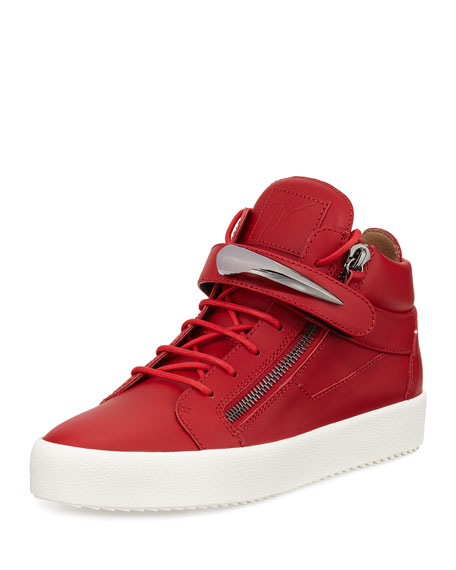 Giuseppe Zanotti Men's Horn Leather Mid-Top Sneaker, Red