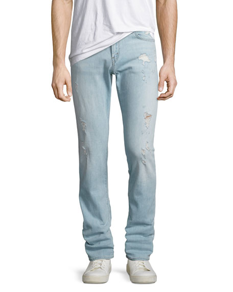 J Brand Tyler Slim-Straight Distressed Jeans, Dened