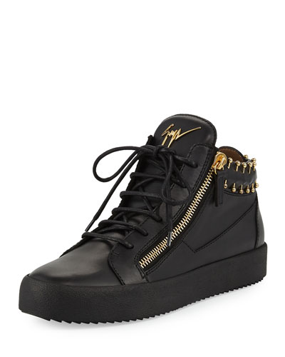 Men's Leather Mid-Top Sneaker with Gold Piercing Details, Black