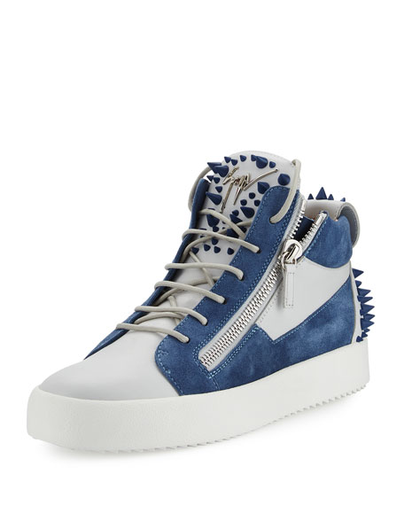 Men's May London Spiked High-Top Sneaker, White/Blue