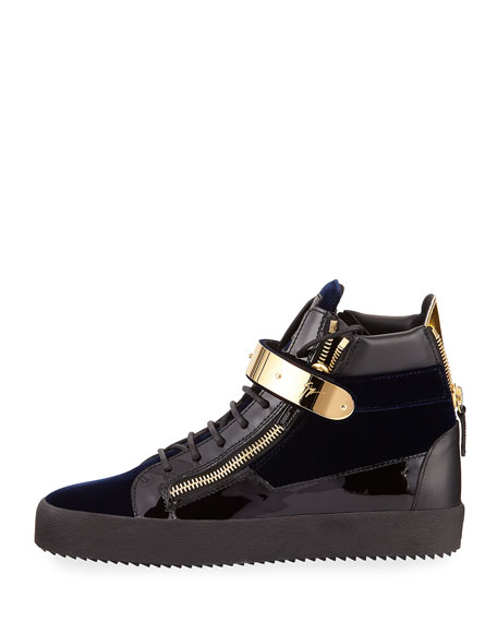 Men's Velvet High-Top Sneaker with Golden Bar, Navy