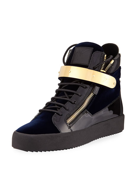 Giuseppe Zanotti Men's Velvet High-Top Sneaker with Golden
