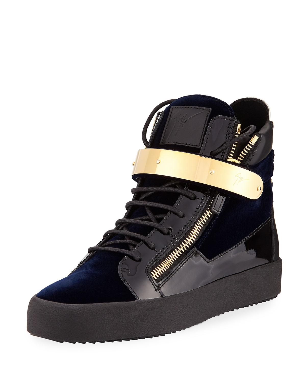 384b600944e Giuseppe Zanotti Men s Velvet High-Top Sneaker with Golden Bar