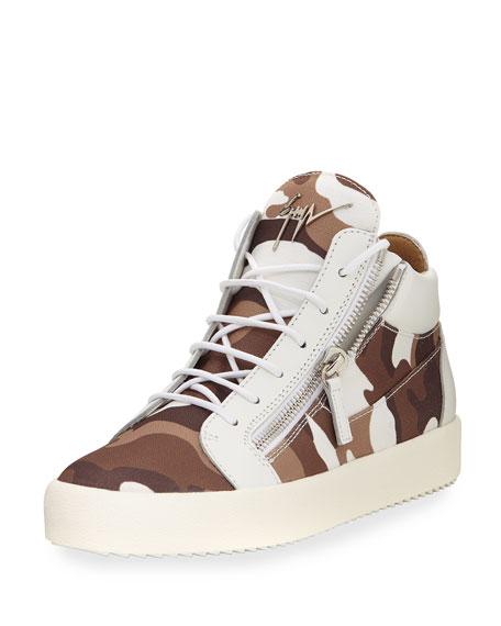 Giuseppe Zanotti Men's Camouflage Canvas Mid-Top Sneaker,