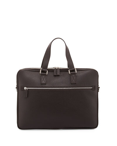 Grained Calf Leather Double-Gusset Briefcase, Brown