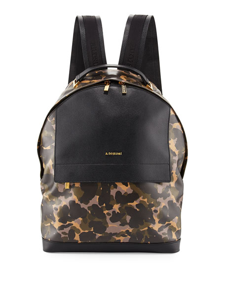Camouflage Leather Backpack, Camo/Black