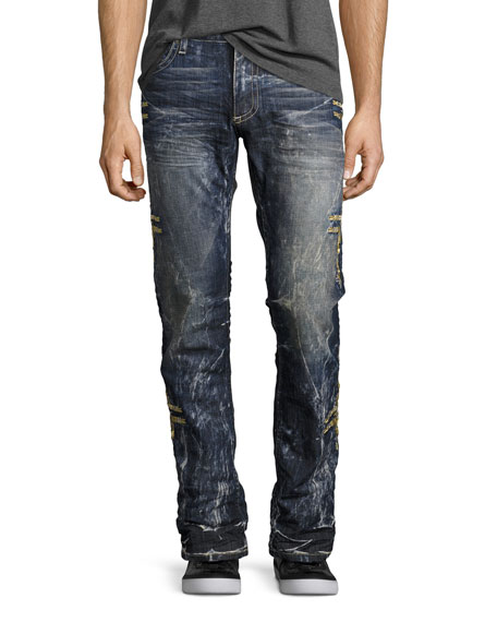 Embroidered Denim Straight-Leg Jeans, Dark Blue