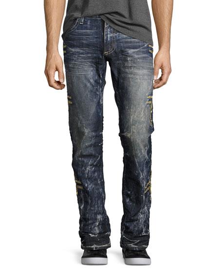 Embroidered Denim Straight-Leg Jeans, Dark Blue