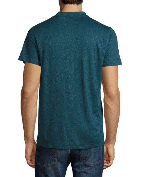 Linen-Silk Polo Shirt, Blue