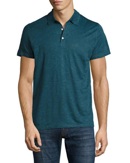 Majestic Linen-Silk Polo Shirt, Blue