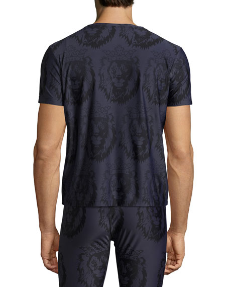 Limited Edition Crown Lion-Print V-Neck T-Shirt, Navy