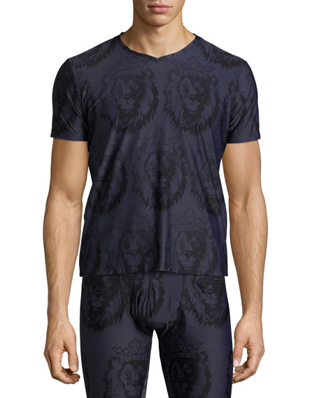 Frigo Limited Edition Crown Lion-Print V-Neck T-Shirt, Navy