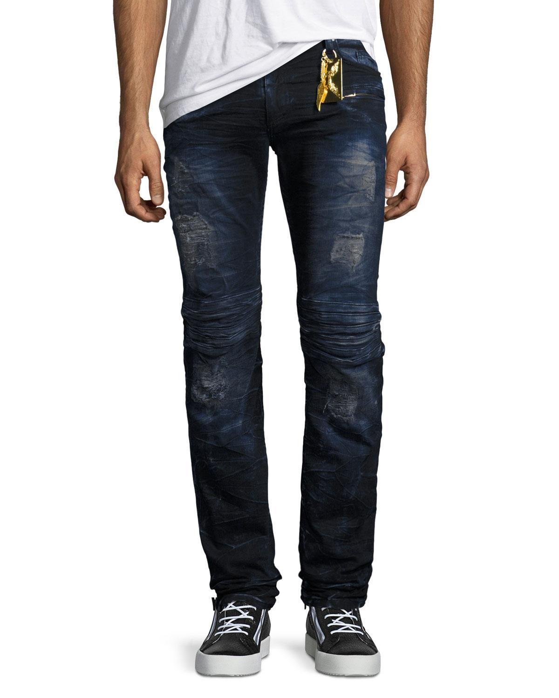 Motard Jeans Neiman Marcus Bluepurple Biker Skinny Jeans Robin's ZA4Opp