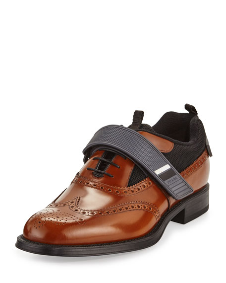Prada Runway Hybrid Brogue Sneaker, Brown