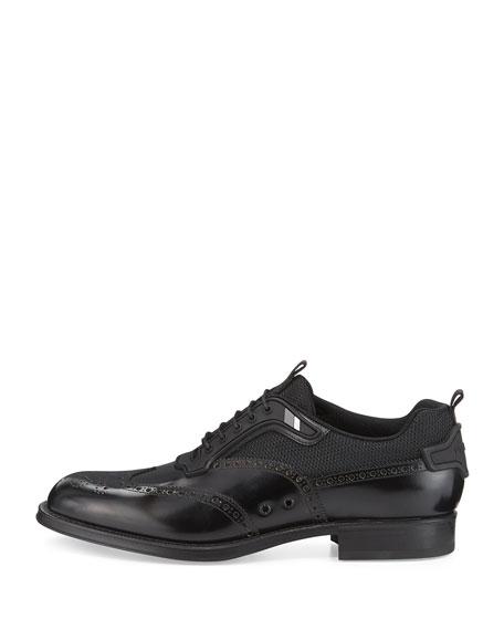 Runway Hybrid Wing-Tip Oxford Sneaker, Black