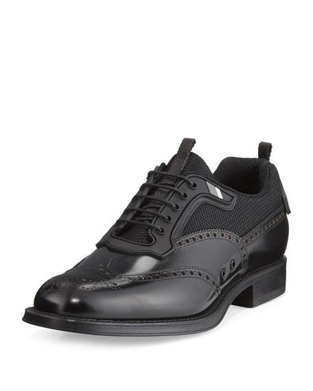 Prada Runway Hybrid Wing-Tip Oxford Sneaker, Black