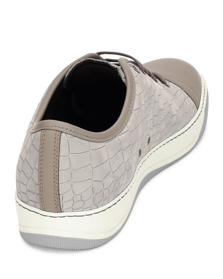Men's Croc-Embossed Low-Top Sneaker