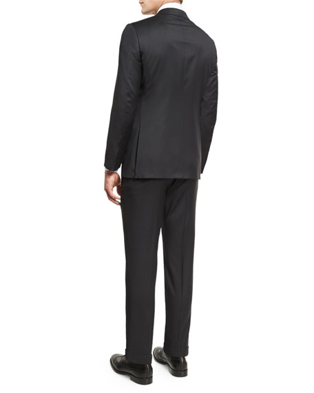 Tonal Check Two-Piece Suit, Black
