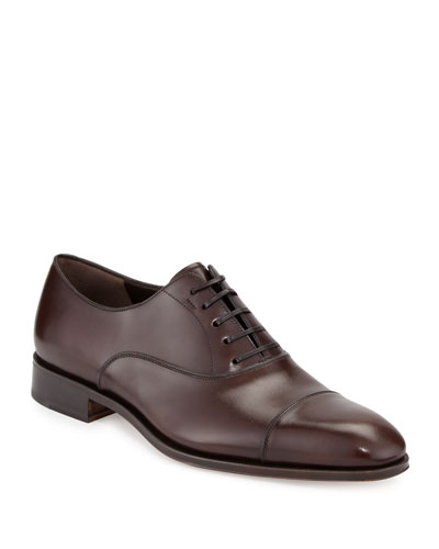 Men's Calfskin Cap-Toe Oxford, Auburn