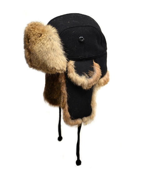 Crown Cap Wool Aviator Hat with Rabbit Fur,